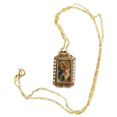 XIXth Century Madonna & Child Hand Painted Miniature in Vermeil Filigree Frame w chain