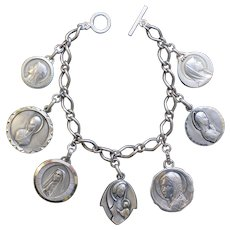 Vintage, Heavy, All Sterling Charm Bracelet w 7 Rare Large Pristine Virgin Mary Medals