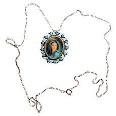 1910's Miniature of Mary in Sterling Frame Dual Use Brooch & Pendant w Chain