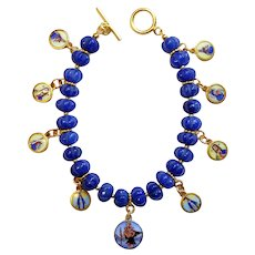 Sapphire & Vermeil Bracelet w 9 Vintage Enameled Painted Miniature Religious Medals