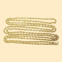 Art Deco 18K Gold Filigree Long Heavy Chain Necklace – Hand Made - Very Fancy