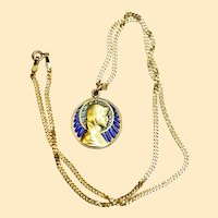 Vintage 18 K Gold Plique-à-Jour The Virgin Mary Pendant Medal circa 1930 w Chain