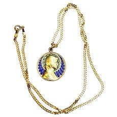 Vintage 18 K Gold Plique-à-Jour The Virgin Mary Pendant Medal circa 1930 w Chain