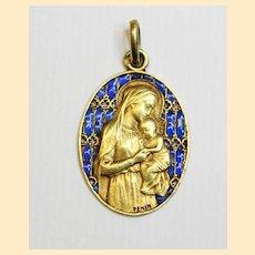 18K Gold Plique-à-Jour Virgin Mary & Child Medal 1929 w Chain Museum Unique Item