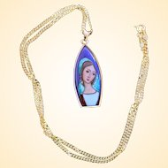 1960's Vintage Virgin Mary Medal Hand Painted & Enameled in 18 K. Gold frame w Chain