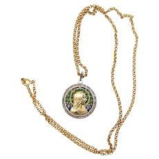 18K Solid Gold & Diamonds Plique-à-Jour Virgin Mary Medal - Unique Museum Quality