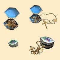 1930's Exceptional 18K. Solid Gold Rosary in Enamel Box High Rarity