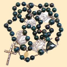 Vintage Bloodstone and Sterling Catholic Rosary Ca.1900 Many Rare Medals – French - XXXR