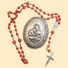 1850's Antique Sardinian Coral & Sterling Reliquary Rosary in Sterling Communion Box XXXR