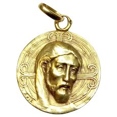 Solid 18K Gold Medal Pendant of the Byzantine Christ