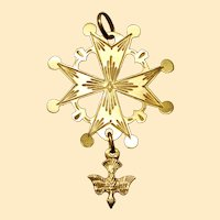 1930's Vintage French 18 K Gold Pendant Huguenot Very Large Cross - V.RARE