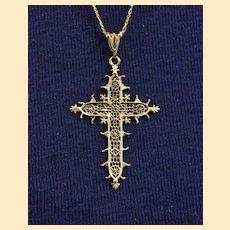 Solid 18K Gold Filigree Cross Pendant Medal of the Estaing Bridge - Rare & Exquisite