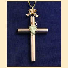 Late 19h Century French Solid 18K Gold Two Color Intricate Cross Pendant Jewel UNIQUE