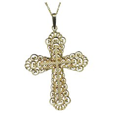 1930's French Solid 18K Gold Open Work Cross Pendant Medal Seldom Seen