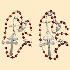 1908 Antique Sterling and Carnelian Lorraine Catholic Rosary Extreme Rarity