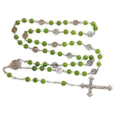 Faceted Jade & Sterling Silver Stations of the Cross Rosary all Vintage Unique