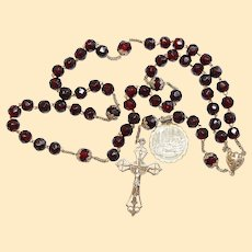Dated 1880 Faceted Garnet & Sterling Silver Large Catholic Rosary -French- V.Rare