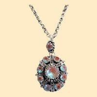 19th Century Sterling Filigree Locket Pendant w Diamond Cut Saphiret Stones - Extreme Rarity