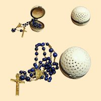 Art Deco 18K. Solid Gold Lapis Lazuli Rosary in Open Work Box