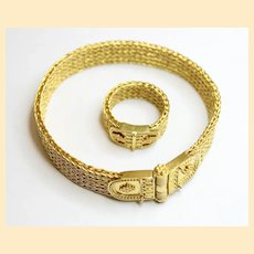 1950's 18K Solid Gold Fox Tail Bracelet and Ring set - Unique Work Never Worn
