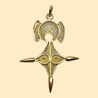 Vintage 18 Carat Gold Filigree Cross Pendant - Cross of Agadez -Unique Design