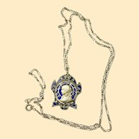 Vintage Sterling Plique-à-Jour & Marcassites Mary Medal w Chain - Unusual