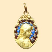 1950's Vintage 18 K Gold Plique-à-Jour Mary Bi Color Pendant Medal