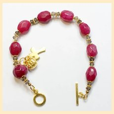 Anglican Rosary Bracelet Faceted Genuine Ruby Beads, Smoky Quartz, Vermeil Cross & Heart