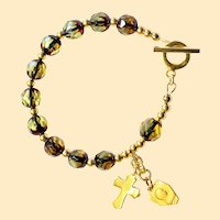Catholic Rosary Bracelet Diamond Faceted Genuine Gold Amber Bernstein & Vermeil