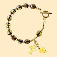 Catholic Rosary Bracelet Diamond Faceted Genuine Gold Amber Bernstein & Vermeil