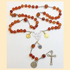 DD 1903 Vintage Catholic Rosary Faceted Gold Baltic Amber & Sterling w 18K Solid Gold Medals - Extreme Rarity