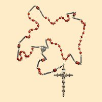 Unique 1830's Antique Sardinian Coral & All Heavy Sterling Rosary w Magnificent Cross