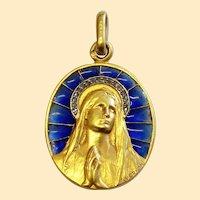 19th Cent. Solid 18K Gold & Diamonds Plique-à-Jour Virgin Mary Medal - By Vernont