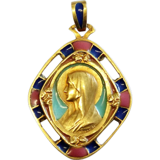 1920's Plique-à-Jour 18K Solid Gold Virgin Mary Polychrome Pendant Medal - Extreme Rarity
