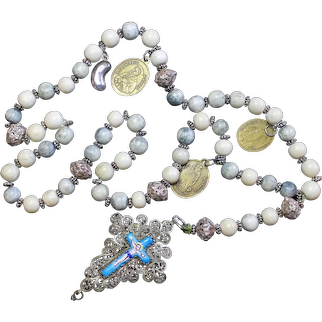19th Cent. Bavarian Bone & Filigree Catholic Rosary w. Medals and Reliquary Porcelain Enamel Cross RARE