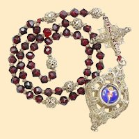 Exquisite 19th Century Bavarian Garnet & Filigree Catholic Rosary Complete w. Credo and Reliquary Porcelain Inlay Cross