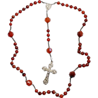 100+ Years Art Nouveau Agate & Sterling Silver Catholic French Rosary Unused