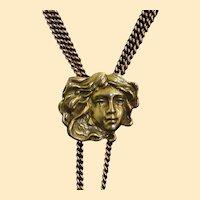 Antique 14K Gold Art Nouveau Slide and Chain
