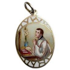 1930's Sterling Cloisonné Hand Painted Enamel Medal St. Aloysius Gonzaga XXXRR