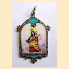 1920's Virgin of Carmel Medal Hand Painted Enamel in Sterling Frame Souvenir of Ubernaga, Biscay