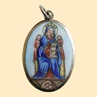 Early 20th Cent. Two Sided Medal N.S Di Puntelungo Hand Painted Enameled in Sterling Frame - High Rarity