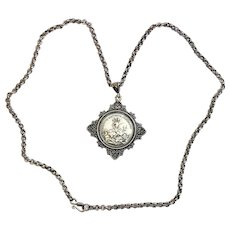 Late 19th Cent. St Georges Medal Equitum Patronus w Heavy Chain - All Sterling Silver