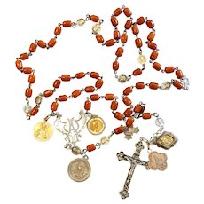 DD 1906 a Vintage Catholic Rosary Butterscotch Baltic Amber & Sterling w 18K Solid Gold Medals - Extreme Rarity