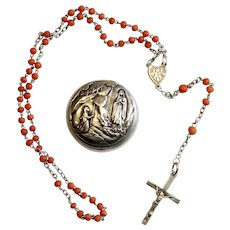 Vintage Coral and Sterling Catholic Rosary in Silver and Gold Plate Mini Lourdes Box - Unique -