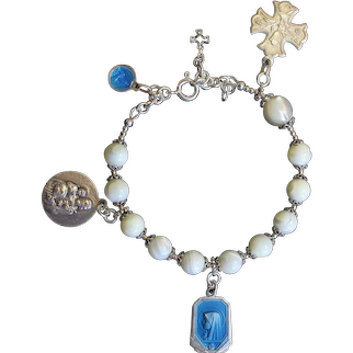 M.O.P & Sterling Rosary Bracelet w Very Rare Vintage Silver and Enamel Medals