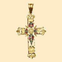 18 K Gold Plique-à-Jour Pendant of Holy Cross Pristine early XXth Cent. Xtreme Rarity