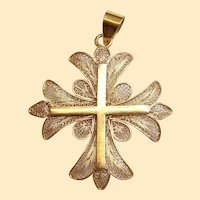 Late 19th Cent. Solid 18K Gold Filigree Large Cross Pendant Medal High Rarity