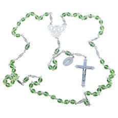 Vintage Uranium Vaseline Faceted Glass and Sterling Catholic Rosary Special & V. Rare