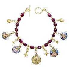 Ruby & Vermeil Bracelet w Vintage Enameled Medals of Raphael Cherub, Angel