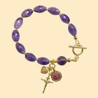 Catholic Rosary Bracelet Faceted Oval Amethyst, Vermeil & Enamel